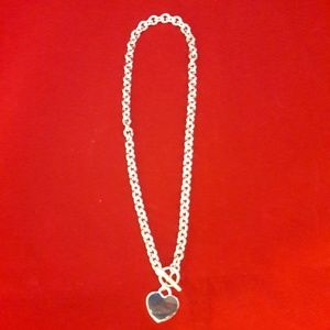 17' Heart Tag Silver Necklace